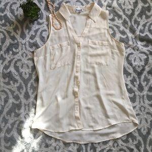Express White Cream Polyester Sheer Dressy Blouse
